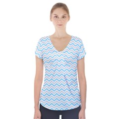 Free Plushie Wave Chevron Blue Grey Gray Short Sleeve Front Detail Top by Alisyart