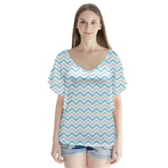 Free Plushie Wave Chevron Blue Grey Gray Flutter Sleeve Top