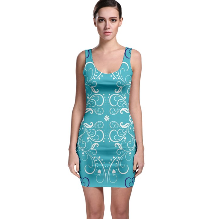Flower Leaf Floral Love Heart Sunflower Rose Blue White Sleeveless Bodycon Dress