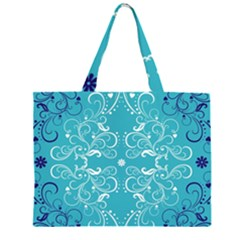 Flower Leaf Floral Love Heart Sunflower Rose Blue White Zipper Large Tote Bag by Alisyart