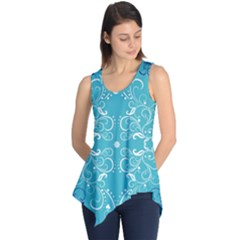 Flower Leaf Floral Love Heart Sunflower Rose Blue White Sleeveless Tunic