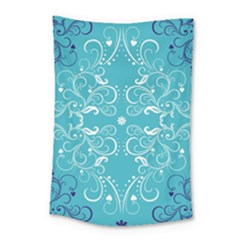 Flower Leaf Floral Love Heart Sunflower Rose Blue White Small Tapestry