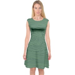 Illustration Green Grains Line Capsleeve Midi Dress