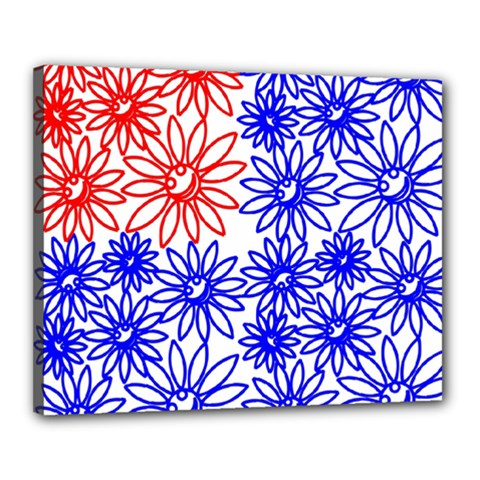 Flower Floral Smile Face Red Blue Sunflower Canvas 20  X 16
