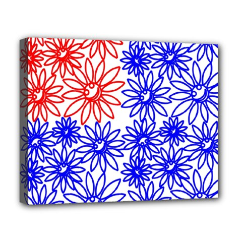 Flower Floral Smile Face Red Blue Sunflower Deluxe Canvas 20  X 16   by Alisyart