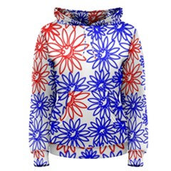 Flower Floral Smile Face Red Blue Sunflower Women s Pullover Hoodie
