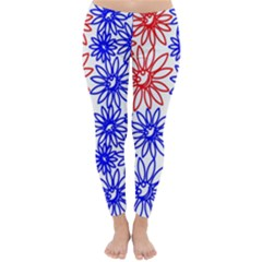 Flower Floral Smile Face Red Blue Sunflower Classic Winter Leggings