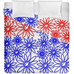 Flower Floral Smile Face Red Blue Sunflower Duvet Cover Double Side (king Size) by Alisyart