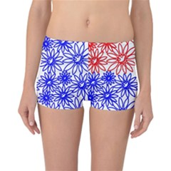 Flower Floral Smile Face Red Blue Sunflower Reversible Bikini Bottoms