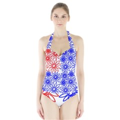 Flower Floral Smile Face Red Blue Sunflower Halter Swimsuit