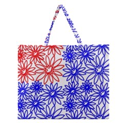 Flower Floral Smile Face Red Blue Sunflower Zipper Large Tote Bag by Alisyart