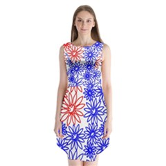 Flower Floral Smile Face Red Blue Sunflower Sleeveless Chiffon Dress   by Alisyart