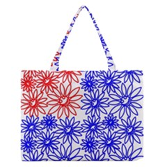 Flower Floral Smile Face Red Blue Sunflower Medium Zipper Tote Bag by Alisyart