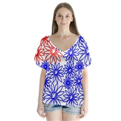 Flower Floral Smile Face Red Blue Sunflower Flutter Sleeve Top