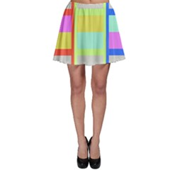 Maximum Color Rainbow Red Blue Yellow Grey Pink Plaid Flag Skater Skirt by Alisyart