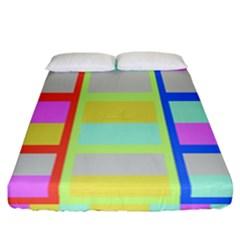 Maximum Color Rainbow Red Blue Yellow Grey Pink Plaid Flag Fitted Sheet (california King Size) by Alisyart