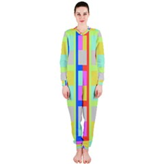 Maximum Color Rainbow Red Blue Yellow Grey Pink Plaid Flag Onepiece Jumpsuit (ladies)  by Alisyart