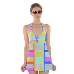 Maximum Color Rainbow Red Blue Yellow Grey Pink Plaid Flag Halter Swimsuit Dress by Alisyart