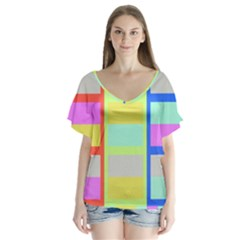 Maximum Color Rainbow Red Blue Yellow Grey Pink Plaid Flag Flutter Sleeve Top