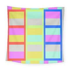 Maximum Color Rainbow Red Blue Yellow Grey Pink Plaid Flag Square Tapestry (large) by Alisyart