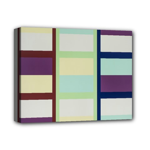 Maximum Color Rainbow Brown Blue Purple Grey Plaid Flag Deluxe Canvas 14  X 11  by Alisyart
