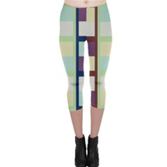 Maximum Color Rainbow Brown Blue Purple Grey Plaid Flag Capri Leggings