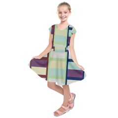 Maximum Color Rainbow Brown Blue Purple Grey Plaid Flag Kids  Short Sleeve Dress by Alisyart
