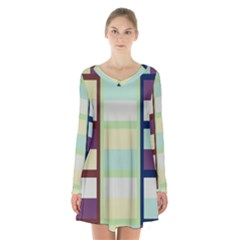Maximum Color Rainbow Brown Blue Purple Grey Plaid Flag Long Sleeve Velvet V Neck Dress