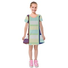 Maximum Color Rainbow Brown Blue Purple Grey Plaid Flag Kids  Short Sleeve Velvet Dress