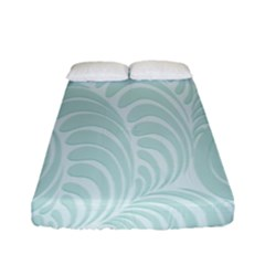 Leaf Blue Fitted Sheet (full/ Double Size) by Alisyart