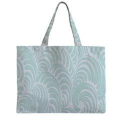 Leaf Blue Zipper Mini Tote Bag