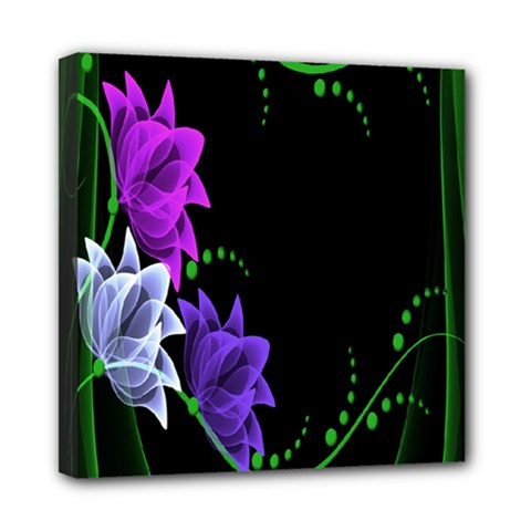 Neon Flowers Floral Rose Light Green Purple White Pink Sexy Mini Canvas 8  X 8  by Alisyart