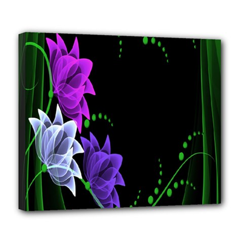 Neon Flowers Floral Rose Light Green Purple White Pink Sexy Deluxe Canvas 24  X 20   by Alisyart