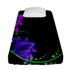 Neon Flowers Floral Rose Light Green Purple White Pink Sexy Fitted Sheet (single Size) by Alisyart