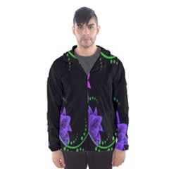 Neon Flowers Floral Rose Light Green Purple White Pink Sexy Hooded Wind Breaker (men) by Alisyart