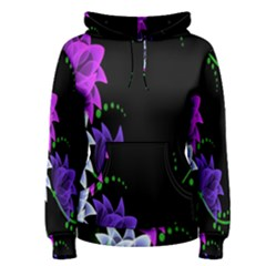 Neon Flowers Floral Rose Light Green Purple White Pink Sexy Women s Pullover Hoodie
