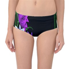 Neon Flowers Floral Rose Light Green Purple White Pink Sexy Mid Waist Bikini Bottoms by Alisyart