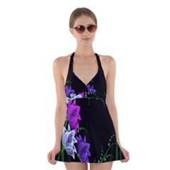 Neon Flowers Floral Rose Light Green Purple White Pink Sexy Halter Swimsuit Dress by Alisyart