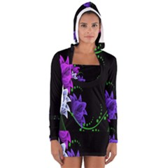 Neon Flowers Floral Rose Light Green Purple White Pink Sexy Women s Long Sleeve Hooded T Shirt by Alisyart