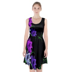 Neon Flowers Floral Rose Light Green Purple White Pink Sexy Racerback Midi Dress