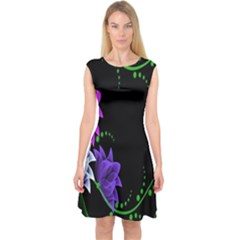 Neon Flowers Floral Rose Light Green Purple White Pink Sexy Capsleeve Midi Dress