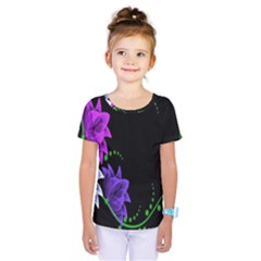 Neon Flowers Floral Rose Light Green Purple White Pink Sexy Kids  One Piece Tee by Alisyart