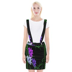 Neon Flowers Floral Rose Light Green Purple White Pink Sexy Suspender Skirt