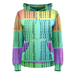Multiplication Printable Table Color Rainbow Women s Pullover Hoodie