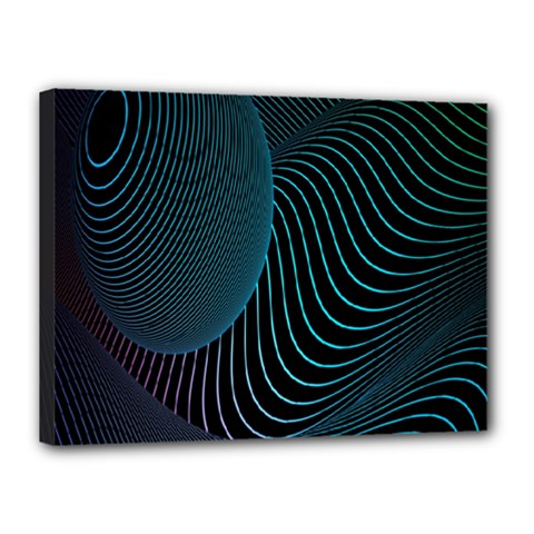 Line Light Blue Green Purple Circle Hole Wave Waves Canvas 16  X 12  by Alisyart