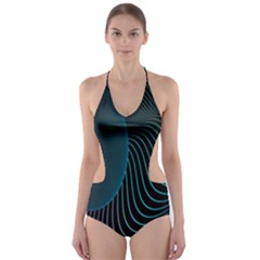 Line Light Blue Green Purple Circle Hole Wave Waves Cut Out One Piece Swimsuit