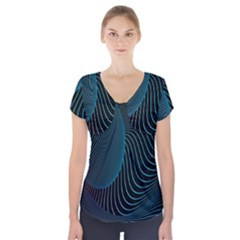 Line Light Blue Green Purple Circle Hole Wave Waves Short Sleeve Front Detail Top by Alisyart