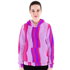 Pink Wave Purple Line Light Women s Zipper Hoodie