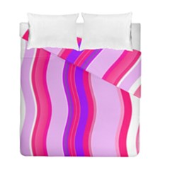 Pink Wave Purple Line Light Duvet Cover Double Side (full/ Double Size) by Alisyart