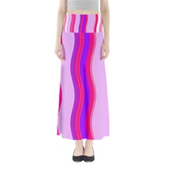 Pink Wave Purple Line Light Maxi Skirts